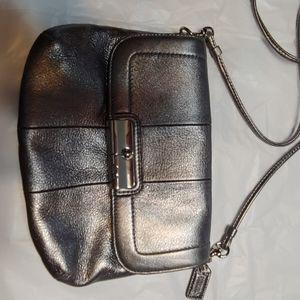 Coach metallic silver leather crossbody